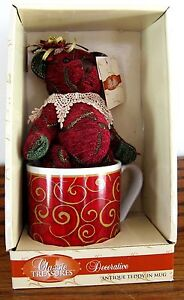 CLASSIC TREASURES DECORATIVE ANTIQUE TEDDY IN MUG GIFT MINT N BOX NEVER REMOVED