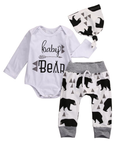 Pants Leggings Hat 3pcs Outfits Set Newborn Baby Boys Clothes Deer Tops T-shirt