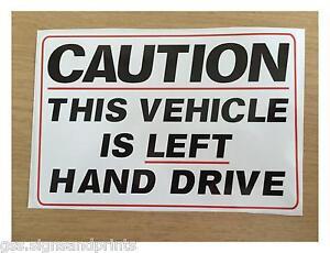 280x180mm-A4-approx-LEFT-HAND-DRIVE-STICKER-SIGN-CAMPER-HGV-AMERICAN-CAR