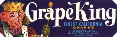 CRATE LABEL GRAPE KING ANTHROPOMORPHIC BAKERSFIELD 1960S VINTAGE ORIGINAL CA