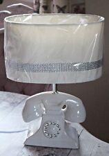 Glamour Telephone Table Lamp & Diamante Trim Oval Shade Modern Retro White Cream