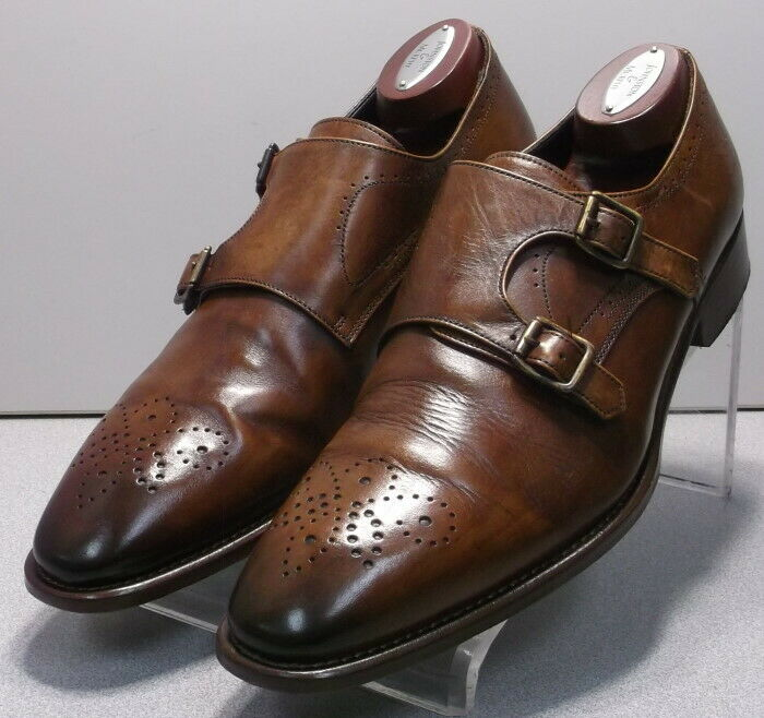 242874 PFi60 Men's Shoes Size 9.5 M Brown Leather Made in Italy Johnston Murphy