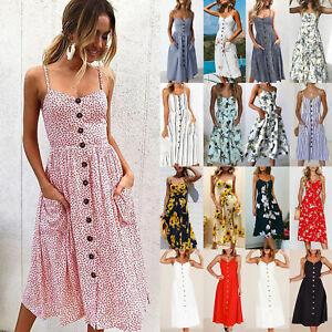 Womens-Holiday-Strappy-Button-Pocket-Ladies-Summer-Beach-Midi-Swing-Sun-Dress