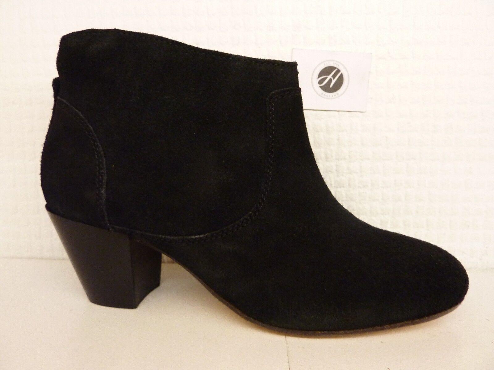 H by Hudson Kiver en Daim Noir Semelle En Cuir Talon Bottines Chaussures