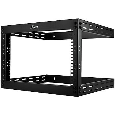 "6U Open Frame Rack Expandable upto 19.5/"" Deep 4-Post Wall Mount Network Cabinet"