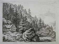 F. RECHBERGER `BLOCKHAUS IM GEBIRGE; LOG HOUSE IN THE MOUNTAINS´ DIETRICY  ~1800