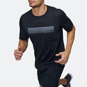 Men-039-s-Under-Armour-UA-Run-Graphic-Short-Sleeve-T-Shirt-Reflective-Black-Tee