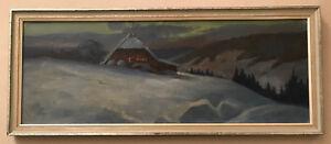 Tableau-peinture-huile-chalet-en-montagne-savoie-alpes-paysage-enneige-hiver