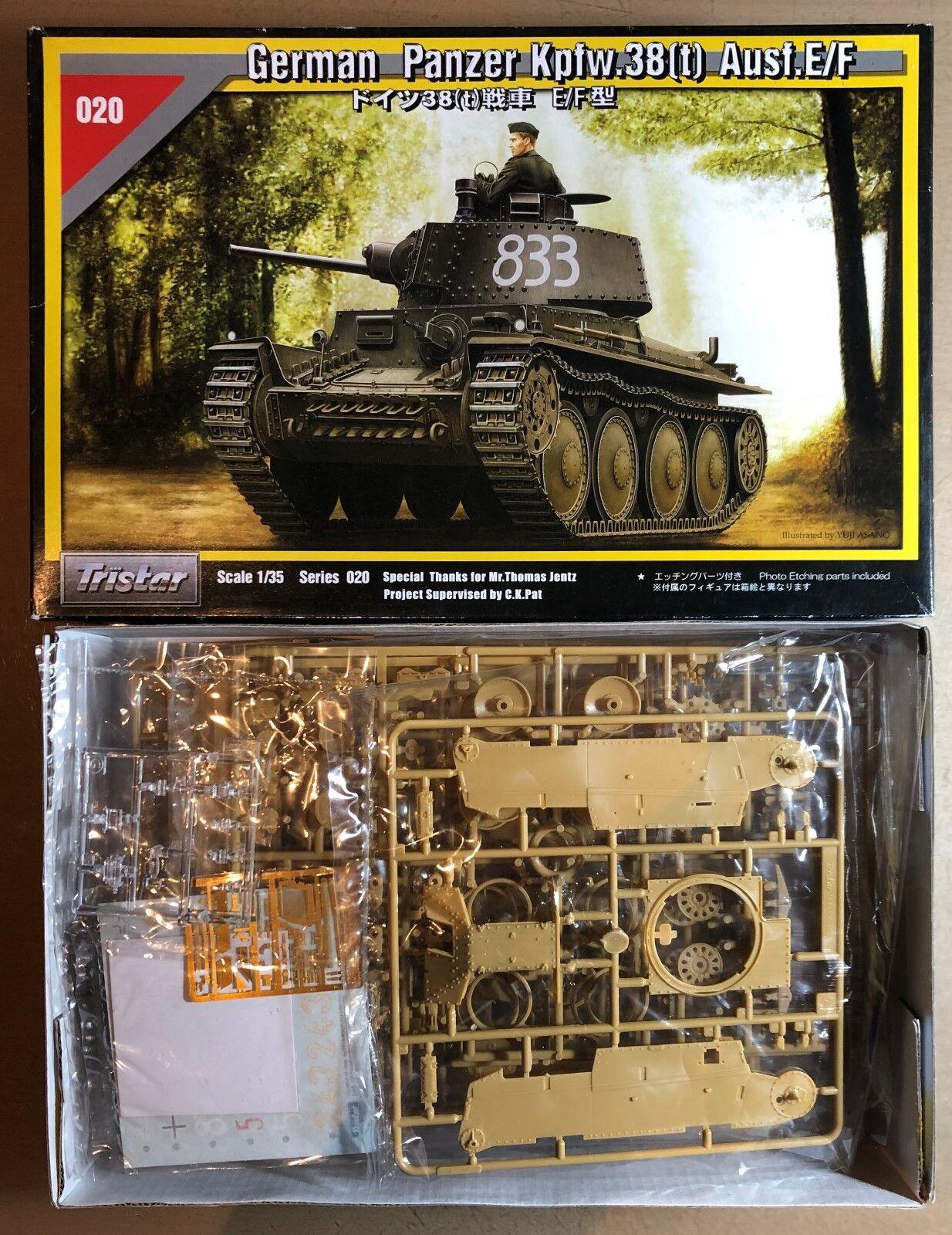 TRISTAR 35020 - GERMAN PANZER PLASTIC Kpfw38(t) Ausf.E/F - 1/35 PLASTIC PANZER KIT 0842aa