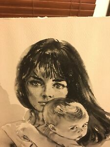 Rare Sandu Liberman Lithograph Signed Mother and Child 20 X 26 On Textured Paper