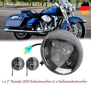 7-034-LED-Scheinwerfer-Hi-Lo-mit-Angel-Eyes-4-5-034-Nebelscheinwerfer-fuer-Harley