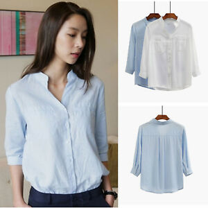 8919ea99bb9 Korean Business Casual V-Neck 3 4 Sleeve Cotton Linen Blouse Shirt ...