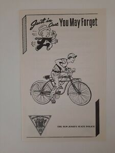 NEW JERSEY STATE POLICE Bicycle SAFETY brochure 1960s VINTAGE Historic