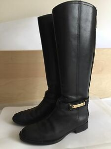 Image is loading TORY-BURCH-Black-Leather-Logo-Riding-Boots-Gold-