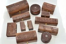 12 PCS HANDMADE ROSEWOOD HAND CARVED WOOD CHEST JEWELRY BOX #F-180