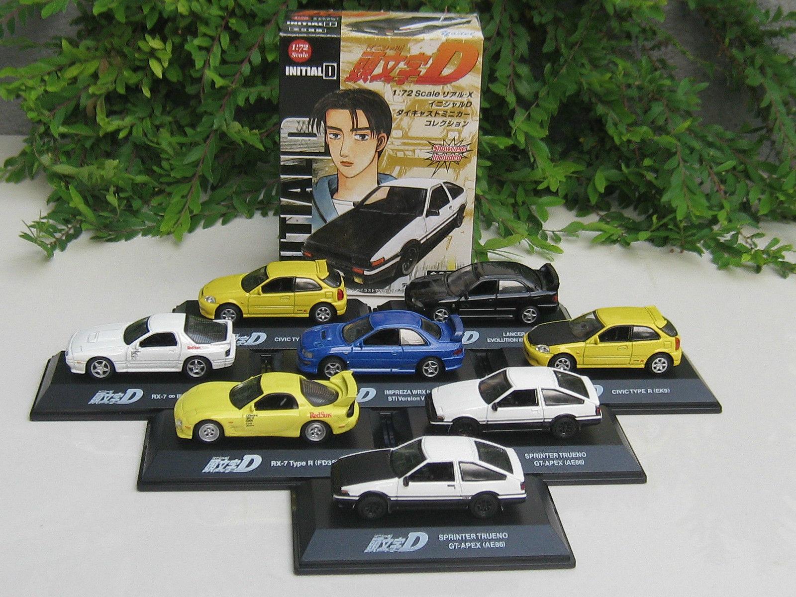INITIAL D 1-72  Diecast Car SET   Mazda, Subaru,Toyota,Honda,Mitsubishi   8 Nos