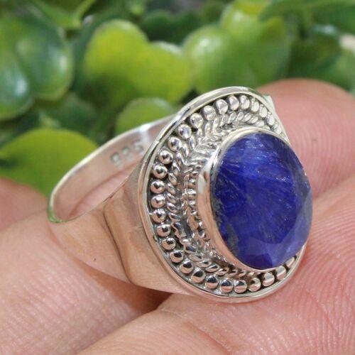 Blue Sapphire Corundum Gemstone Solid 925 Sterling Silver Ring Jewelry