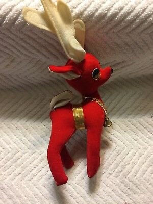 1 Vintage Flocked Reindeer Christmas Velvet Deer Antlers Plastic// Celluoid