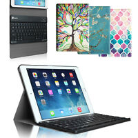 For Apple Ipad Slim Fit Pattern Cover Stand Case W/ Removable Bluetooth Keyboard