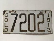 """1913 Colorado License Plate Porcelain First Issue Rare 100% Original """"VERY GOOD"""""""