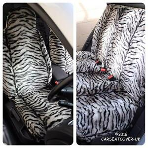 SEAT-CORDOBA-Gris-Tigre-Piel-Sintetica-Peludo-cubiertas-de-asiento-de-coche-Conjunto-Completo