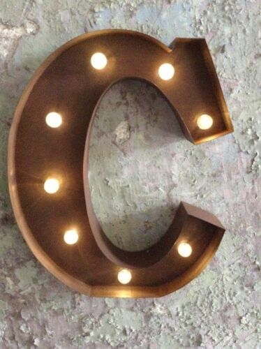 LED LIGHT CARNIVAL CIRCUS METAL ALPHABET LETTERS /& NUMBERS RUST  33 CM A-Z 0-9