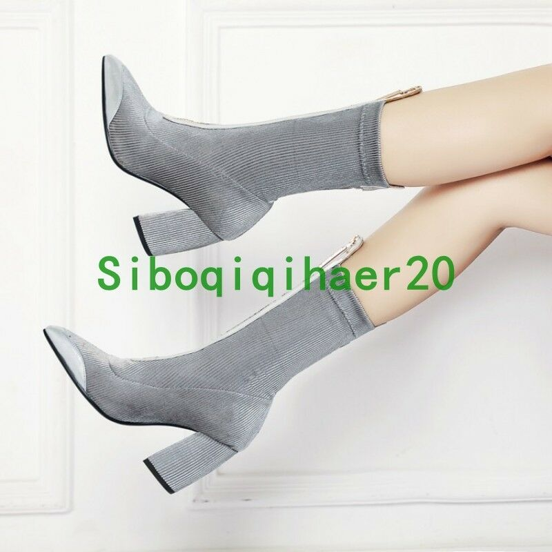 Fashion Donna Pointy Toe Block Heel Zip Runway Mid Stivali Calf Stivali Mid Corduroy Shoes S b3d1f5