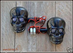 X2-Paires-Clignotants-Visage-Tete-de-Mort-Skull-Noir-moto-trike-custom