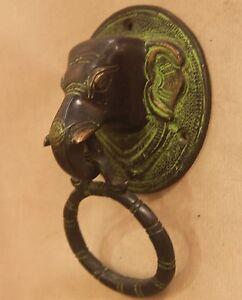 Image is loading Brass-Elephant-Door-Knocker-Handle-Vintage-Antique-Finish- & Brass Elephant Door Knocker Handle Vintage Antique Finish Unique ...