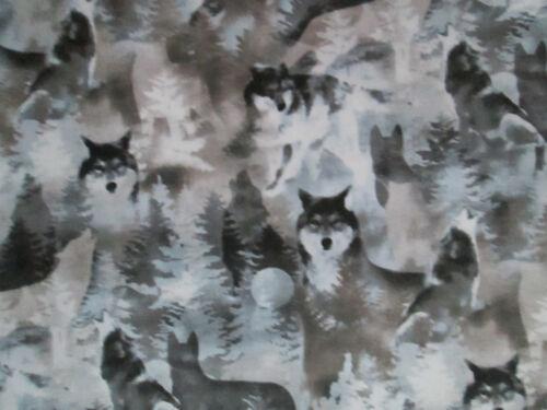 BEAR SPIRIT ANIMALS TAN BLUE GRAY COTTON FABRIC BTHY