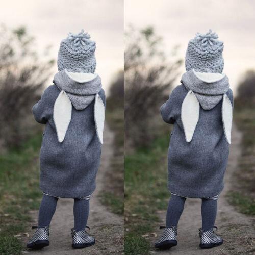 Winter Child Kids Girls Rabbit Ear Hooded Long SLeeve Thick Warm Outwear Coat