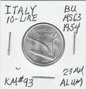 Coin-Italy-10-Lire-Choice-BU-1954-23-MM-Aluminum