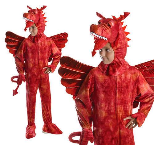 Childrens Red Dragon Costume mostro Halloween Completo 7-10 anni