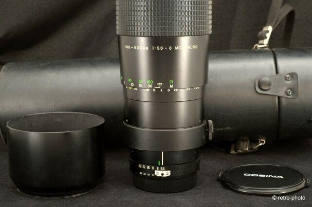 Super Cosina 100-500mm f/5.6-8 MC Macro, for Nikon AI, hood, case, TESTED, exc.!