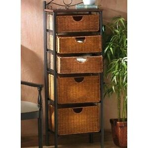 Image Is Loading Wicker Bathroom Storage Basket Unit Towels 5 Drawer