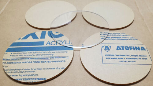 "Lot of NEW Atofina Plexiglass Acrylic 4.5/"" Circle Board Stand Display Clear 5"