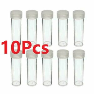 PENNY SIZE SQUARE TUBE SCREW ON CAP CLEAR PLASTIC STORAGE COIN HOLDERS 10