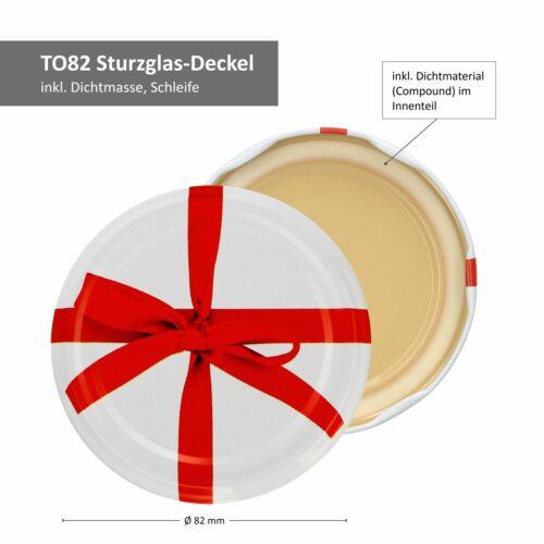 Rezeptheft 6x Einmachgläser 720 ml I Deckel Schleifen-Dekor I Twist-Off TO 82