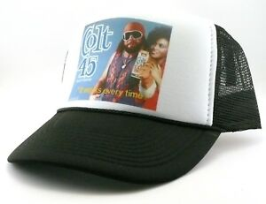 5976a11c145 Colt 45 Trucker Hat mesh hat snap back hat black Macho man beer hat ...