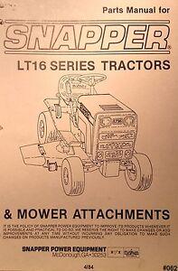 snapper lt16 riding lawn garden tractor dozer 33 41 48 mower parts rh ebay com Snapper Mower Parts Snapper LT 16 Garden Tractors