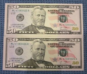Details about Collectible $100 New Uncirculated Fifty (50) Dollar Bills In  Sequential Order