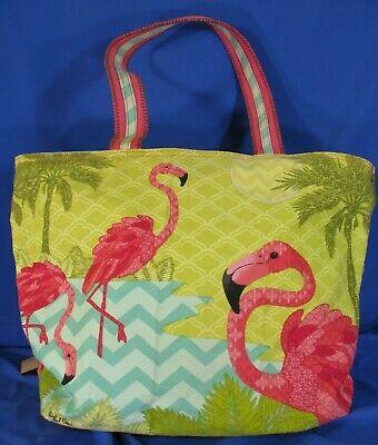 Women Large Tote Top Handle Shoulder Bags Tropical Flamingo Bird Black Satchel Handbag