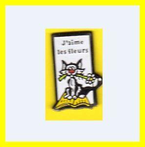 Pin-039-s-lapel-pin-Pins-J-039-aime-les-fleurs-CHAT-sur-un-livre-avec-fleur