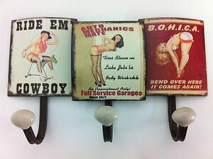 Wandgarderobe rustikal Pin up Girl Metall Garage Cowboy Antik - Stil PinUpGirls