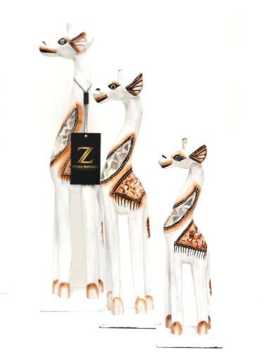 "ZENDA Giraffe Statues Set Of 3 Wood Hand Carved Glass Inlay Details 20"" 16"" 12/"""