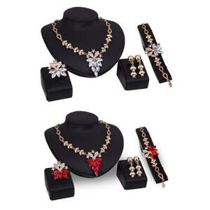 Women-Wedding-Gold-Plated-Necklace-Earrings-Jewelry-Sets-Rhinestone-Crystal-DI