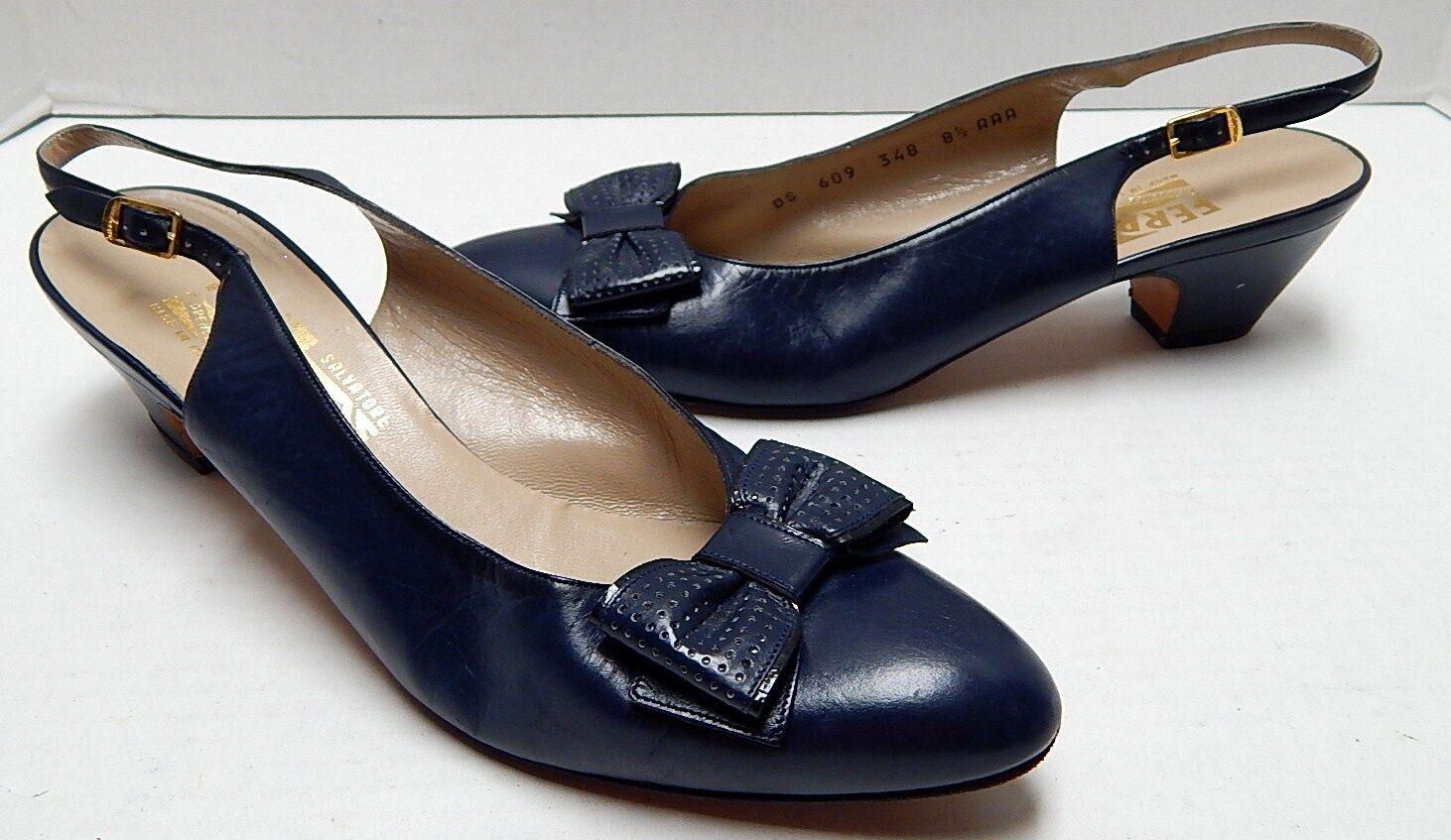 Salvatore Ferragamo 8.5 AAA Navy Blau Leder Slingback Heels