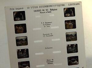 Carte-Stereoscopique-LESTRADE-LOURDES-N-12-RELIGIEUX-Messe-Benediction