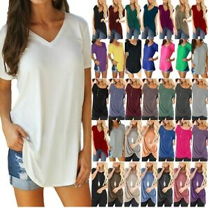 Plus-Size-Women-Summer-Short-Sleeve-Blouse-Casual-Loose-Tunic-T-Shirt-Tee-Tops