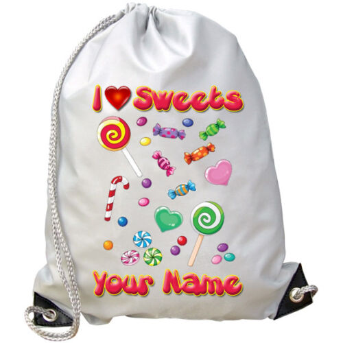 I LOVE SWEETS PERSONALISED GYM DANCE BAG SWIMMING GREAT GIFT /& NAMED TOO
